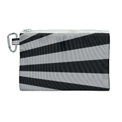 Striped Black And Grey Colors Pattern, Silver Geometric Lines Canvas Cosmetic Bag (large)
