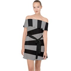 Striped Black And Grey Colors Pattern, Silver Geometric Lines Off Shoulder Chiffon Dress