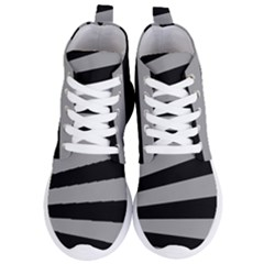 Striped Black And Grey Colors Pattern, Silver Geometric Lines Women s Lightweight High Top Sneakers