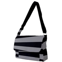 Striped Black And Grey Colors Pattern, Silver Geometric Lines Full Print Messenger Bag (s)