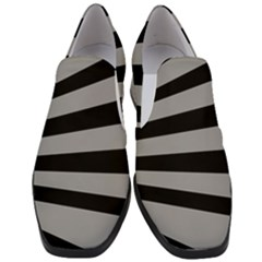 Striped Black And Grey Colors Pattern, Silver Geometric Lines Women Slip On Heel Loafers by Casemiro