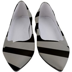 Striped Black And Grey Colors Pattern, Silver Geometric Lines Women s Block Heels