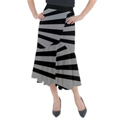 Striped Black And Grey Colors Pattern, Silver Geometric Lines Midi Mermaid Skirt