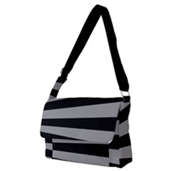 Striped Black And Grey Colors Pattern, Silver Geometric Lines Full Print Messenger Bag (m)