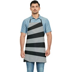 Striped Black And Grey Colors Pattern, Silver Geometric Lines Kitchen Apron