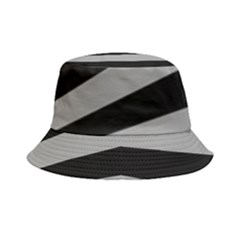 Striped Black And Grey Colors Pattern, Silver Geometric Lines Bucket Hat