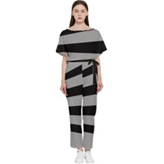 Striped Black And Grey Colors Pattern, Silver Geometric Lines Batwing Lightweight Jumpsuit