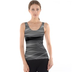 Abstract Geometric Pattern, Silver, Grey And Black Colors Tank Top