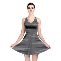 Abstract Geometric Pattern, Silver, Grey And Black Colors Reversible Skater Dress
