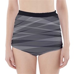 Abstract Geometric Pattern, Silver, Grey And Black Colors High-waisted Bikini Bottoms