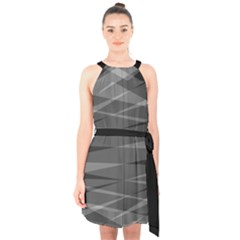 Abstract Geometric Pattern, Silver, Grey And Black Colors Halter Collar Waist Tie Chiffon Dress