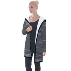 Abstract Geometric Pattern, Silver, Grey And Black Colors Longline Hooded Cardigan