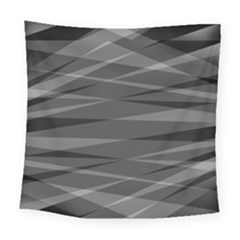 Abstract Geometric Pattern, Silver, Grey And Black Colors Square Tapestry (large)