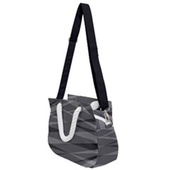 Abstract Geometric Pattern, Silver, Grey And Black Colors Rope Handles Shoulder Strap Bag