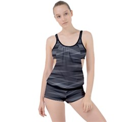 Abstract Geometric Pattern, Silver, Grey And Black Colors Boyleg Tankini Set