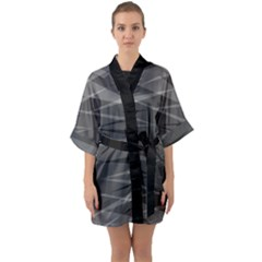 Abstract Geometric Pattern, Silver, Grey And Black Colors Half Sleeve Satin Kimono