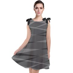 Abstract Geometric Pattern, Silver, Grey And Black Colors Tie Up Tunic Dress