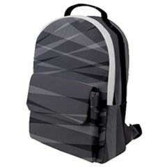 Abstract Geometric Pattern, Silver, Grey And Black Colors Flap Pocket Backpack (small)