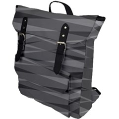 Abstract Geometric Pattern, Silver, Grey And Black Colors Buckle Up Backpack