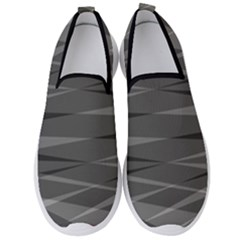 Abstract Geometric Pattern, Silver, Grey And Black Colors Men s Slip On Sneakers