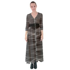 Abstract Geometric Pattern, Silver, Grey And Black Colors Button Up Maxi Dress