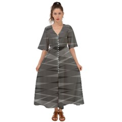 Abstract Geometric Pattern, Silver, Grey And Black Colors Kimono Sleeve Boho Dress