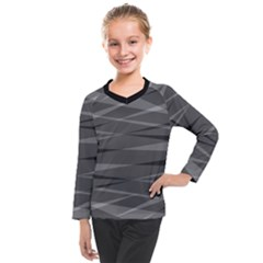 Abstract Geometric Pattern, Silver, Grey And Black Colors Kids  Long Mesh Tee