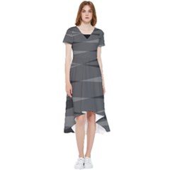 Abstract Geometric Pattern, Silver, Grey And Black Colors High Low Boho Dress