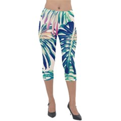 Monstera Leaf Lightweight Velour Capri Leggings