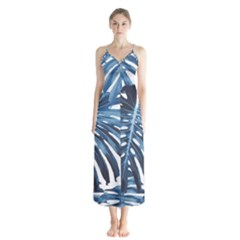 Blue Monstera Leaf Button Up Chiffon Maxi Dress