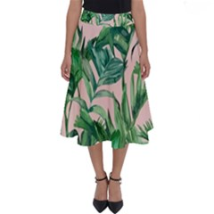 Green Leaves On Pink Perfect Length Midi Skirt