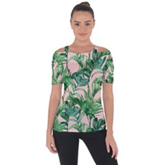 Green Leaves On Pink Shoulder Cut Out Short Sleeve Top