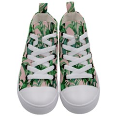 Green Leaves On Pink Kids  Mid-top Canvas Sneakers
