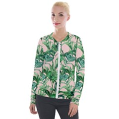 Green Leaves On Pink Velvet Zip Up Jacket