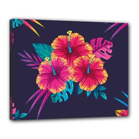 Neon Flowers Canvas 20  X 16  (stretched)