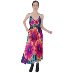 Neon Flowers Tie Back Maxi Dress by goljakoff