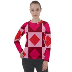 Red And Pink Diamonds Women s Long Sleeve Raglan Tee