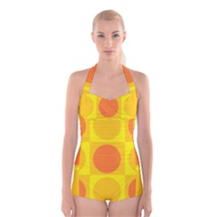Orange Yellow Boyleg Halter Swimsuit