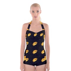 Taco Pattern On Black Boyleg Halter Swimsuit