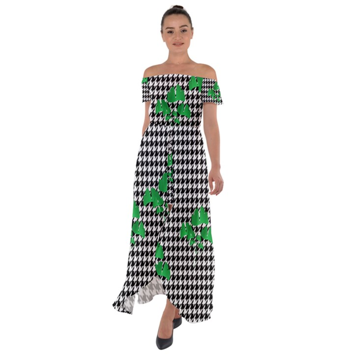 Houndstooth Leaf Off Shoulder Open Front Chiffon Dress