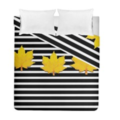 Stripe Yellow Leaves Duvet Cover Double Side (full/ Double Size)