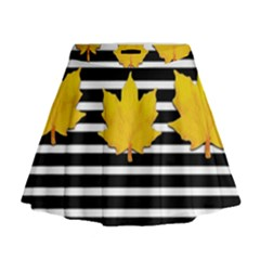 Stripe Yellow Leaves Mini Flare Skirt by Lotus