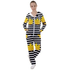 Stripe Yellow Leaves Women s Tracksuit by Lotus