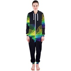 Colorful Smoke On Black Hooded Jumpsuit (ladies)