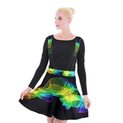 Colorful Smoke On Black Suspender Skater Skirt