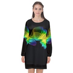 Colorful Smoke On Black Long Sleeve Chiffon Shift Dress