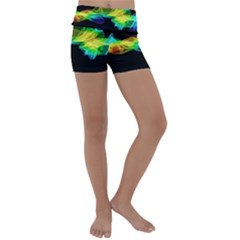 Colorful Smoke On Black Kids  Lightweight Velour Yoga Shorts