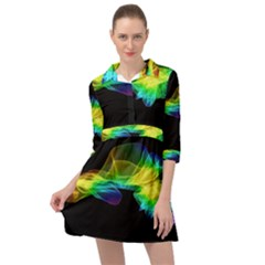 Colorful Smoke On Black Mini Skater Shirt Dress