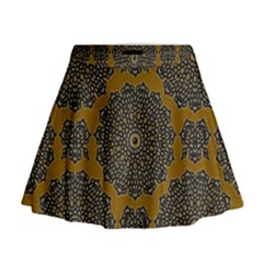 Black Doily On Brown Mini Flare Skirt by Lotus