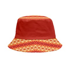 Orange Flower Diamond Stripe Bucket Hat